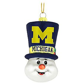 U of M Snowman Top Hat Glass Ornament $9.99