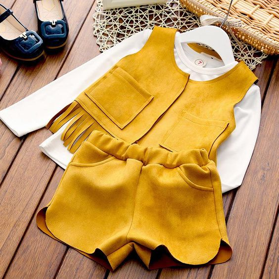 2016 New Kids clothes jacket vest casual suede fringed vest shorts three piece sets T249