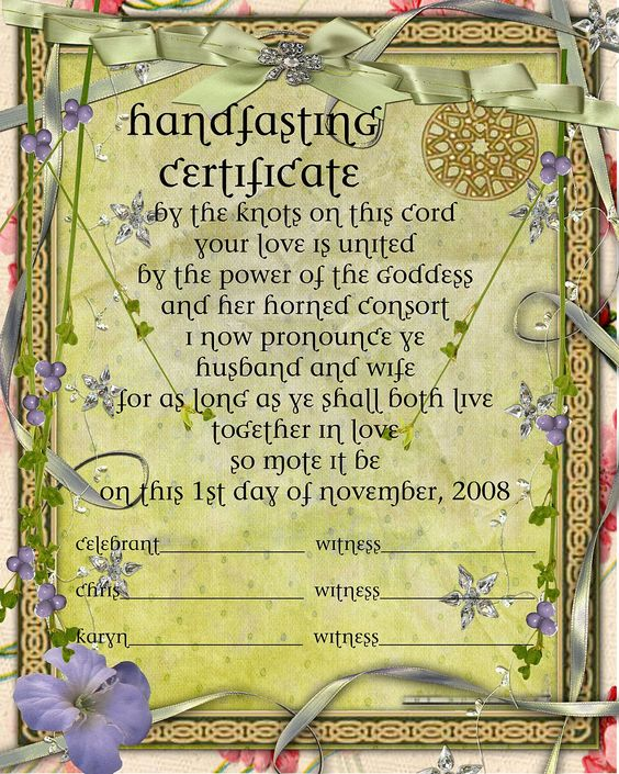 Handfasting Certificate Free - Google Search