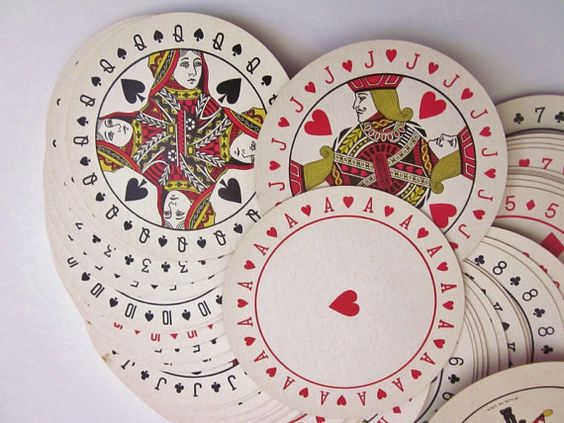 Vintage Playing Cards Round Art Deco Style Discus Playing Cards via Etsy: