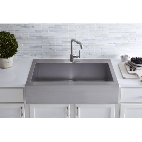 Vault Top Mount Single Bowl Stainless Steel Kitchen Sink With Shortened Apron Fr In 2020 Stainless Steel Farmhouse Sink Stainless Steel Kitchen Sink Apron Sink Kitchen