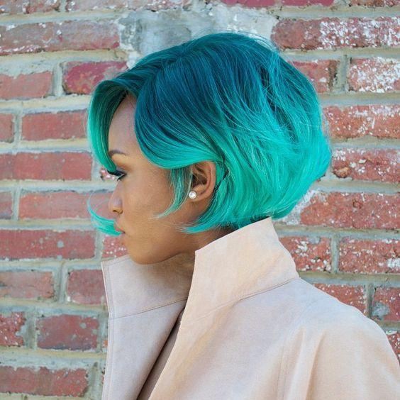 black girl with colorful hair | acqua green hair | black women styling | bob hair: