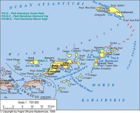 Brytyjskie Wyspy Dziewicze, mapa - WIEM, darmowa encyklopedia