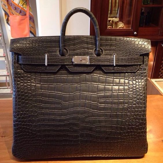 Hermes Graphite Shiny Porosus Crocodile 35cm Birkin Bag with Palladium Hardware