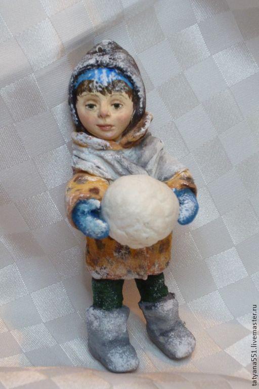 """Купить Игрушки из ваты """"Зимние забавы- Сонечка и Сашка"""" - коричневый, бежевый, вата, ватная игрушка"""