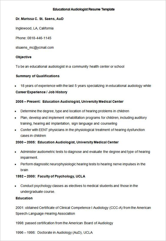 Sample Educational Audiologist Resume Template How To Make A Good Teacher Resume Template Teacher Resume Teacher Resume Template Teacher Resume Template Free