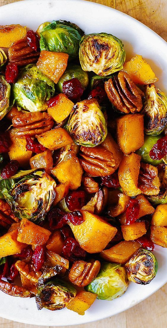 Roasted Butternut Squash and Brussels sprouts with Pecans and Cranberries