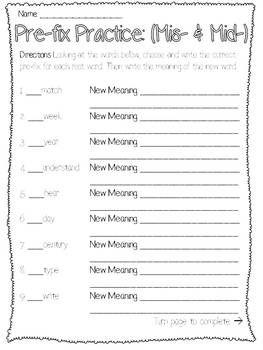 Prefix Mis Worksheet - Khayav