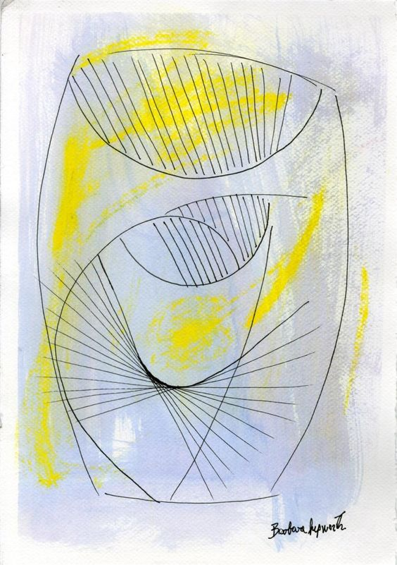 "Barbara Hepworth (English, 1903-1975). ""Drawing for Pierced Form"". Watercolor, ink, and colored pencil drawing on paper. c1964."