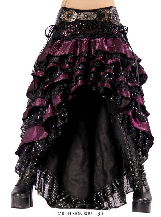 Ruffle Skirt, 39 - 41 inch Hips,  Black Sparkle, Cabaret, Vaudeville, Steampunk, Vampire, Noir, Gothic, BellyDance, Dark Fusion Boutique