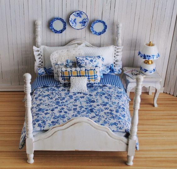 Miniature Shabby Chic Double Bed, A Beautiful Blue And White Bedding Set, Decorative Throw Pillows, And Matching Accessories. $75.00, via Etsy.
