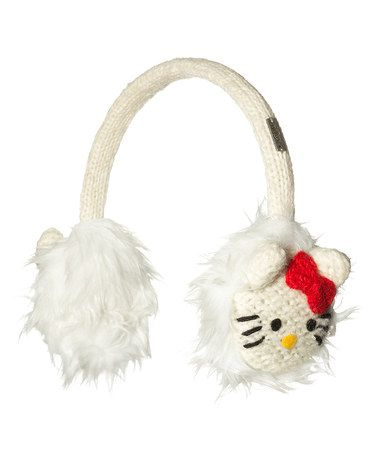White Hello Kitty Wool Earmuffs #zulily #zulilyfinds
