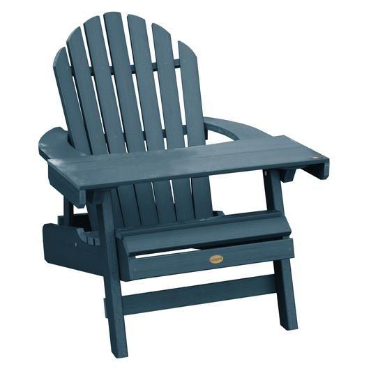 Highwood 1 Hamilton Folding Reclining Adirondack Chair With 1 Adirondack Laptop Reading Table Outdoor Seating Set Adirondack Chair Highwood
