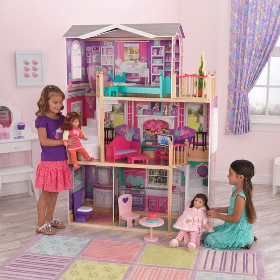 Give your little girl the dollhouse of their dreams with this elegant manor, designed for her favorite 18-inch doll. Standing at over five feet tall, this stunning house features eye-catching artwork and comes with twelve pieces of doll furniture.