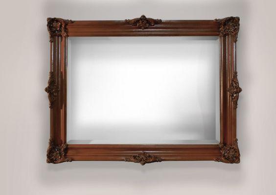 Espejo biselado con marco estilo antiguo color caoba for Espejo con marco biselado