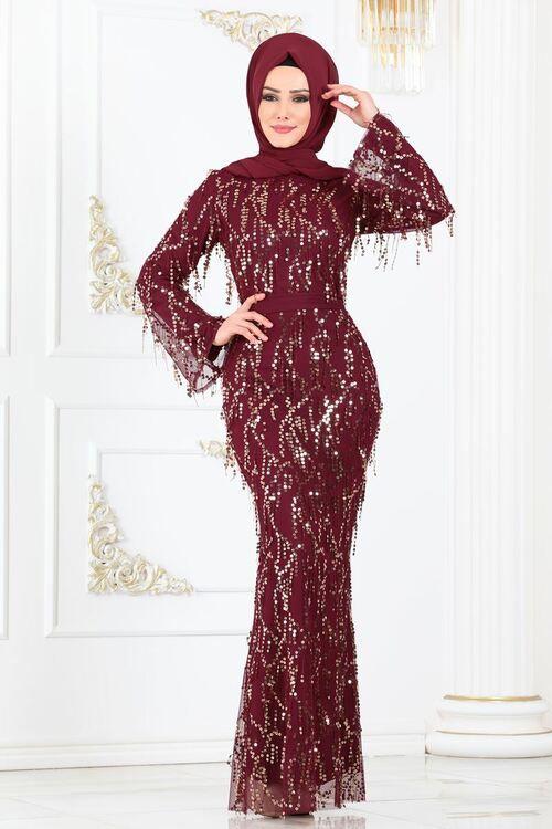 Modaselvim Abiye Payet Puskullu Balik Abiye 81654bn105 Bordo Dresses Fashion Formal Dresses Long