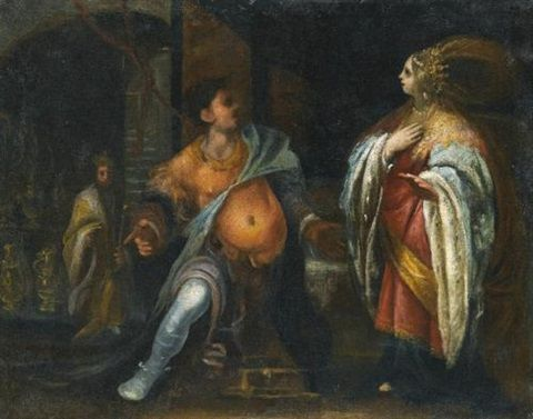 A biblical subject, probably Esther standing before Haman, behind them King Ahasuerus by Francesco (Cecco Bravo) Montelatici:
