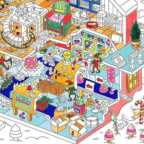 Santa S Christmas Workshop Giant Coloring Poster By Omy Design Play Christmas Colors Poster Colour Artistic Space