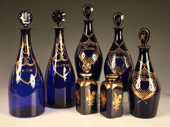 Bristol Blue Glass Decanters and Scent Bottles.