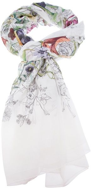 Silk Gucci floral scarf. White with artist-sketchbook style pansies, lilies, and more. On Lyst.