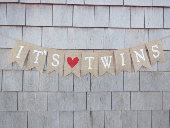 It's Twins Banner, Twins Bunting, Twin Girls, Twin Boys, Burlap Garland, Pregnancy Photo Prop, Gender Reveal, New Baby, Baby Shower Decor by IchabodsImagination on Etsy https://www.etsy.com/listing/226274360/its-twins-banner-twins-bunting-twin