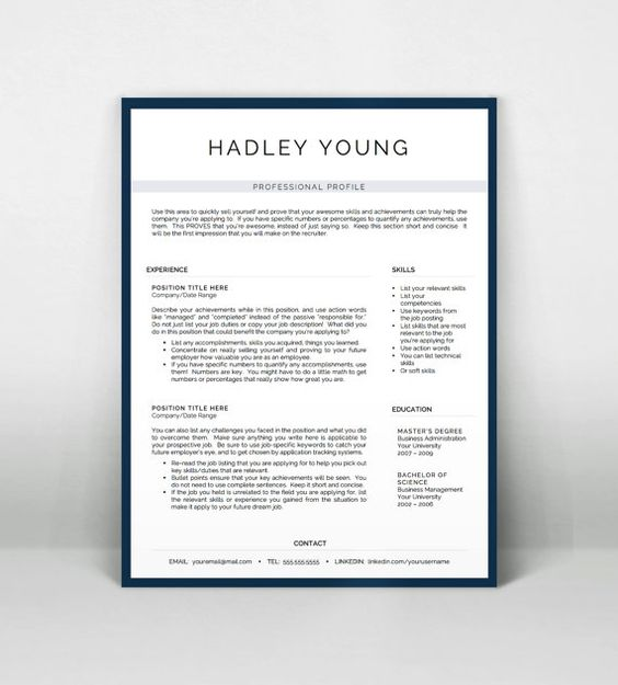 Professional One and Two Page Resume Template  Cover Letter for