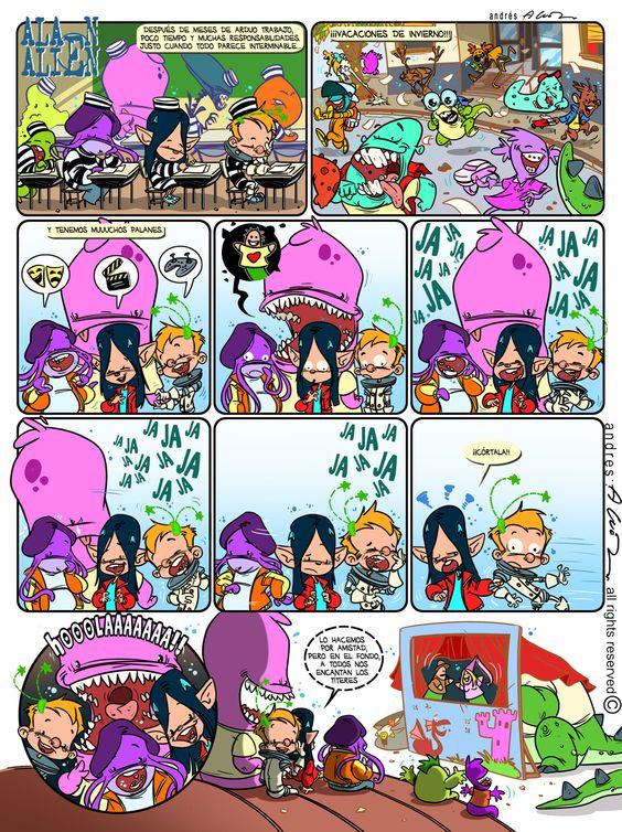 Alan Alien - Pagina 12 - Publicada en la revista infantil PIN - Guion & Arte (realizado de forma digital)