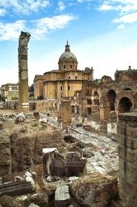 The Temple of Caesar, located within the Roman Forum