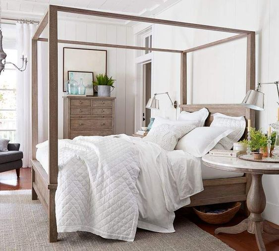 Stunning, simple Farmhouse Canopy Bed! #affiliate #bed #farmhouse