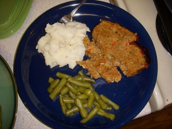 This recipe came from a package of ground turkey. It is by far the best turkey meatloaf I have ever tasted.
