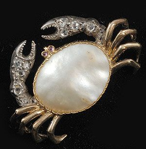 A Victorian silver, gold, daond, pearl and ruby brooch in the form of a crab, symbol of the zodiacal sign of Cancer. (john-joseph.co.uk)