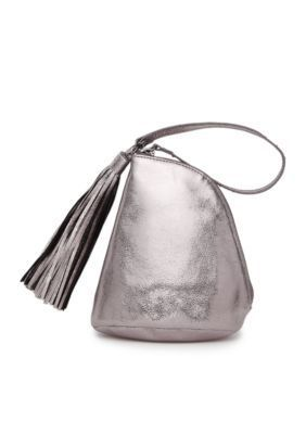 Chic and easy to carry, this hematite color wristlet lends an elegant accessorizing option for parties and events!
