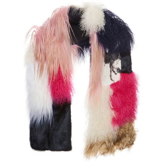MSGM Patchwork Fur Scarf In Pink ($2,310) ❤ liked on Polyvore