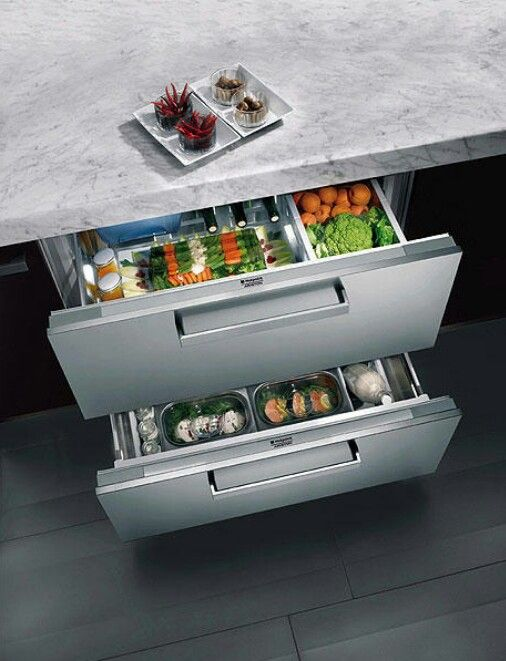 Chilled produce drawer for kitchen.