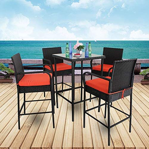 Leaptime Patio Table Chairs Garden Bar Furniture Christmas Party