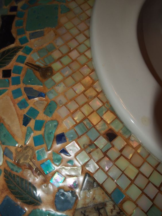 Mosaic glass tiles brass keys sea glass and old broken for Mosaic tile vanity top