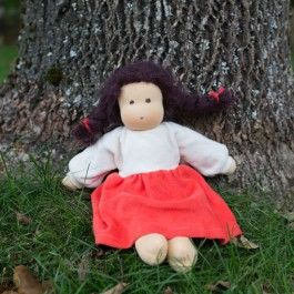 Organic Waldorf Doll with Brown Braids, Red. Made in Germany. www.bellalunatoys.com