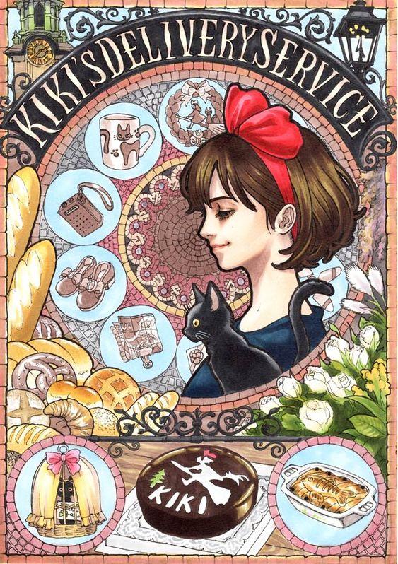 Quand le StudioGhibli rencontre l'Art Nouveau, une superbe série des affiches des films deHayaoMiyazaki (qui a pris sa retraite le mois dernier, snif), r