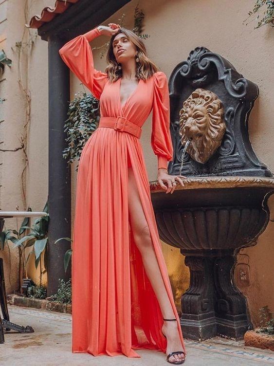 vestidos longos com manga deslumbrante
