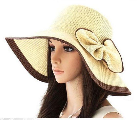 Moda Chic para mujeres damas verano playa el sol sombrero gorro paja
