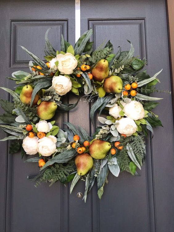 Excited to share this item from my #etsy shop: Country Pear wreath Fall wreath farmhouse wreath farmhouse greenery wreath summer wreath peony wreath