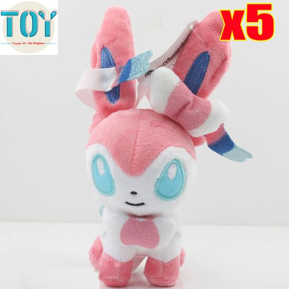 """Find More Movies & TV Information about New 5 PCS Pokemon Fairy Sylveon Standing Pose Japanese Anime Soft Plush Doll Cartoon Kid Toy Gift 5"""" Brinquedos Wholesale,High Quality toys 4 year old,China toy rc Suppliers, Cheap gift flask from Toys in the Kingdom on Aliexpress.com"""