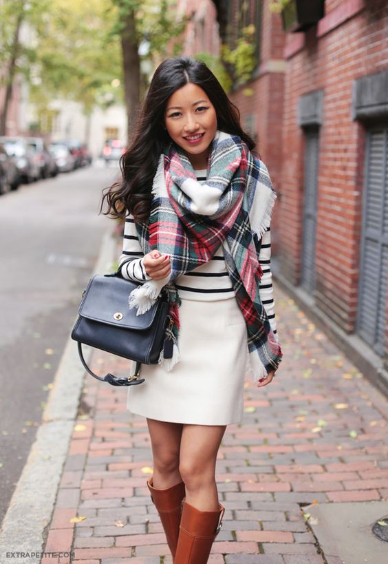 Classic Fall Casual Outfit Wool Skirt Striped Tee