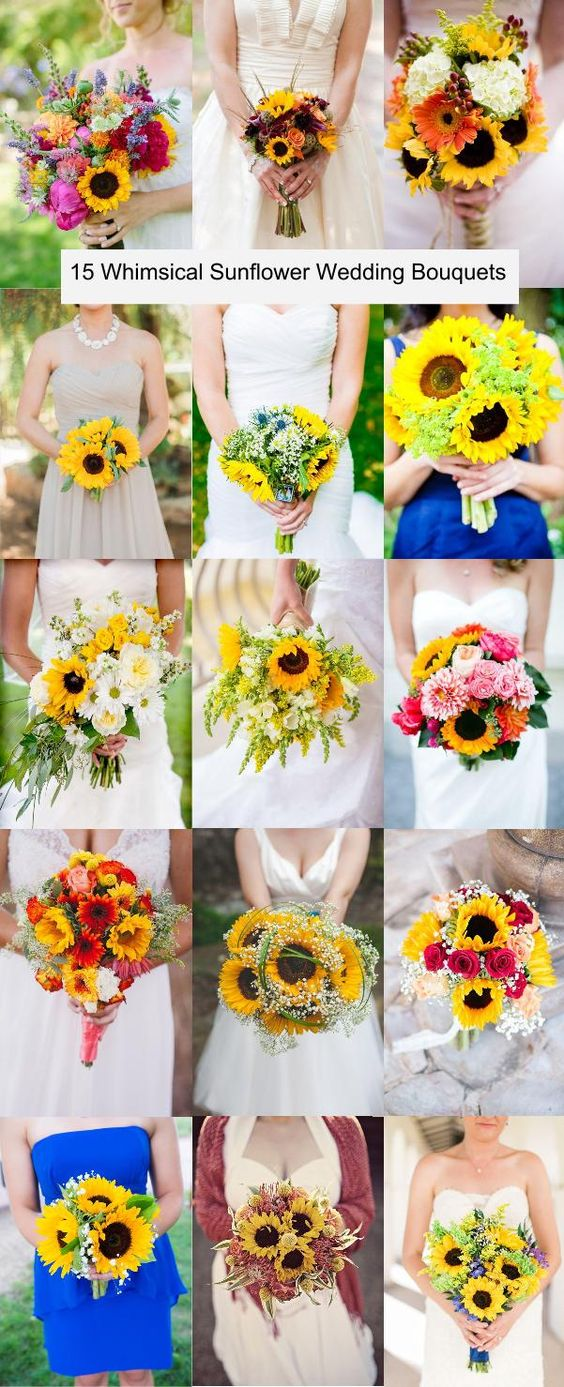 15 Whimsical Sunflower Wedding Bouquets: