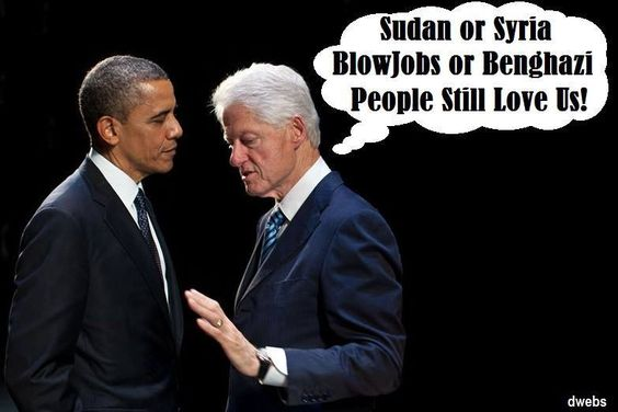 Slick willy giving aid to the clown!