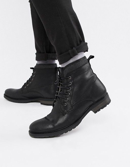 ASOS DESIGN lace up work boots in black