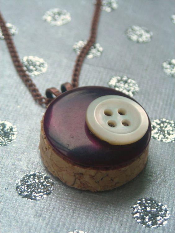 wine cork and antique button pendant  12