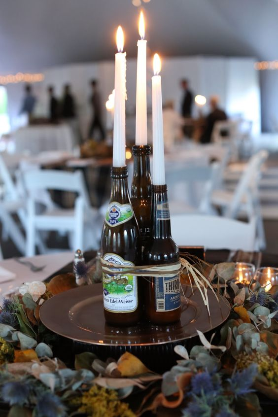 Craft beer bottle centerpiece wedding pinterest
