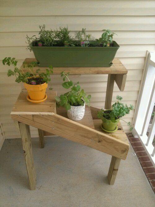 Diy Herb Garden Herbs Garden And Plant Stands On Pinterest