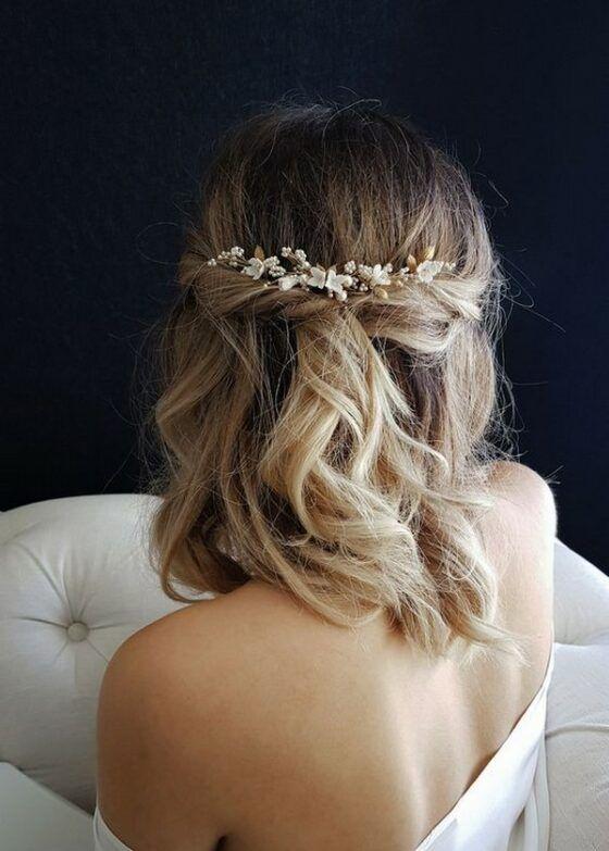 20 Medium Length Wedding Hairstyles For 2021 Brides Emmalovesweddings In 2020 Wedding Hair Half Wedding Hairstyles For Long Hair Short Wedding Hair